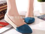 2014欧洲站韩版新款拼色简单大气尖头平底豆豆娃娃鞋平跟单鞋