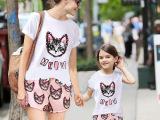 母女装夏装2015款韩版潮流时尚甜美休闲卡通短袖短裤套装女亲子装