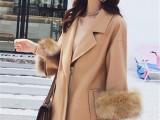 女装外套大衣冬季库存服装批发女过膝韩版中长款宽松毛呢外套批发