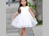 2014新款韩版童装夏季中小童雪纺公主裙女童连衣裙子纯白色批发