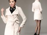 现货实拍冬韩版时尚女装毛呢中长款修身呢子 风衣 大衣 外套