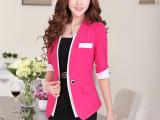 休闲西装外套新款韩版潮短款小西服中袖修身女式OL职业套装