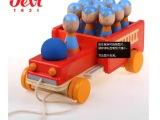 木制消防车 儿童保龄球车玩具 锻炼抓取运动
