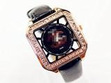 供应批发速卖通爆款品牌高档真皮方形大表盘带钻生活防水女手表