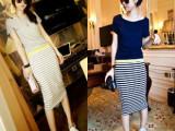 厂家直销  2014夏新款欧美原单条纹长款沙滩裙假两件连衣裙批发