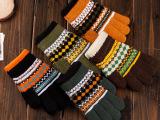 冬季新款韩版时尚儿童五指手套针织保暖儿童手套加厚毛线五指手套