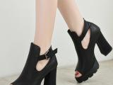 2014新款女鞋真皮鱼嘴单鞋欧美女粗跟春秋深口防水台高跟鞋