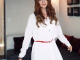 韩版休闲新款 英伦风 腰带修腰 不规则下摆 加长款上衣衬衫 17