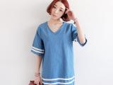 2014韩国夏季新款女装东大门韩版V领短袖牛仔连衣裙厂家直销