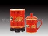 中国红瓷 醴陵瓷器 陶瓷工艺礼品 浮金诗