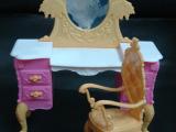 玩具家具,复古风家具,芭比化妆台,芭比复古妆台,芭比宫殿椅,