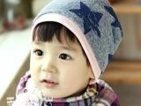 秋冬男女宝宝帽子 五角星套头帽 护耳帽儿