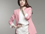 新款 修身西服休闲正装 中长款粉色西装外套女