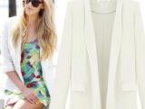 2014新款欧美新款长袖西服女修身小西装 宽松女外套