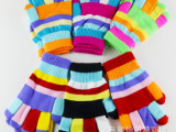 冬季新款女式分指手套 六色男女士双层加厚魔术彩色保暖五指手套