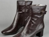 外贸原单大牌库存女靴真皮靴子粗跟短靴中跟
