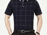 男式短袖T恤2015夏季新款中年纯色棉休闲宽松翻领上衣厂家直销