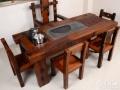 绍兴市老船木茶桌椅子仿古茶台实木沙发茶几餐桌办公桌家具博古架