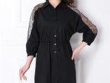2015夏季新款女衬衫韩版镶钻蕾丝时尚七分袖修身中长女衬衫批发