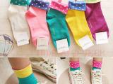 韩国袜子可爱女袜短袜夏季棉袜创意假两件翻边波点点袜 8色