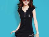 2014新款夏装半袖韩国运动套装时尚大码短袖休闲套装女夏一件代发