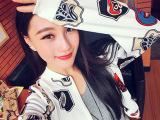 韩版新款定制暗格面料大牌徽章印花拉链棒球外套