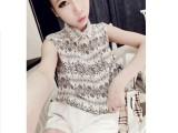 韩版女装2014夏季新款复古花无袖衬衫雪纺衫