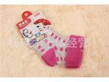 厂家直销可爱宝宝袜 纯棉卡翻口圆点拉毛3-6岁可爱宝宝袜