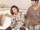 韩国新品秋冬季格子情侣睡衣女衬衫纯棉男士长袖长裤家居服