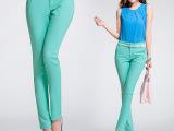 2015韩版新款修身女装彩色OL显瘦休闲裤小脚铅笔长裤 女