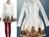 欧美春夏新款大牌同款手工钉珠 圆领提花连衣裙 女欧美连衣裙