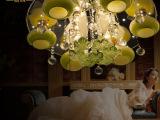 铭悦厂家直销低压水晶灯LED吸顶灯客厅灯圆形卧室灯餐厅三色灯罩