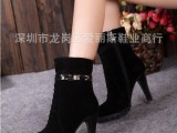 厂家直销一件代发国内品牌高跟厚底磨砂皮马丁靴高跟真皮短靴