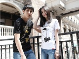 夏装新款情侣装潮韩版圆领女卡通小狗印花短袖T恤学生上衣