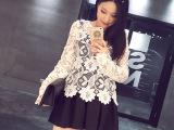 2015春季新款韩版时尚个性立体镂空蕾丝钩花长袖T恤女潮爆