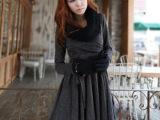 . 胖mm大码女装冬装连衣裙叠V领收腰显瘦长袖连衣裙配腰带187