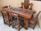大同市老船木茶桌椅子仿古茶台实木沙发茶几餐桌办公桌家具博古架