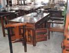 老船木茶桌椅组合古典功夫茶台户外阳台休闲茶几简约中式榆木茶桌