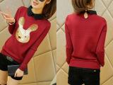 6257韩版翻领套头毛衣针织衫闺蜜装蘑菇街女装秋装新款套头上衣潮