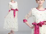 2014新款女装欧美大牌 时尚气质欧根纱中袖连衣裙刺绣碎花长裙