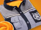 专柜品牌童装 韩版儿童条纹衬衫长袖衬衣加黄金绒冬款衬衫批发