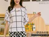 2014新款韩版时尚休闲女式T恤宽松圆领黑白格子衫蝙蝠袖大码女装