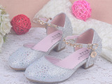 儿童鞋女童高跟鞋包头夏季公主皮鞋烫钻单鞋参加宴会表演鞋