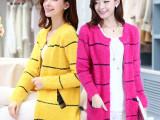 实拍秋装新款韩版针织衫 中长款马海毛针织外套 长袖毛衣外套 女