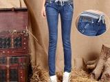 外贸品牌韩版女装秋季新款松紧腰系带牛仔裤女式小脚裤309