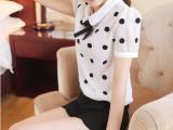 韩版女装娃娃领上衣波点衬衫学院风衬衣 1278