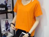 2016夏季新款纯色简约V领短袖t恤女宽