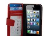 苹果iphone mini/5c手机套  左右带镜框 钱包式皮套