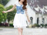 2014夏季新款韩版短袖牛仔短袖打底裙 雪纺拼接百褶连衣裙 正品