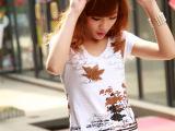 女装新款民族风 枫叶图案 钉珠镶钻v领 短袖t恤女 第一货源 9